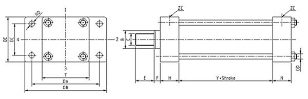 前法兰安装-低压拉杆液压缸尺寸图及参数