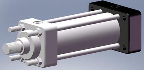 后法兰安装-低压拉杆液压缸尺寸图及参数图片
