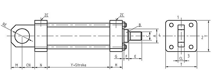后耳环安装-低压拉杆液压缸尺寸图及参数