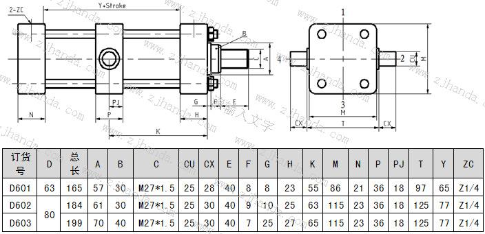 中间销轴安装的低压拉杆液压缸的尺寸图及参数图片