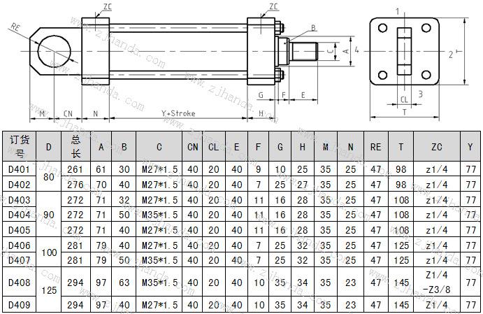 后耳环安装-低压拉杆液压缸尺寸图及参数图片