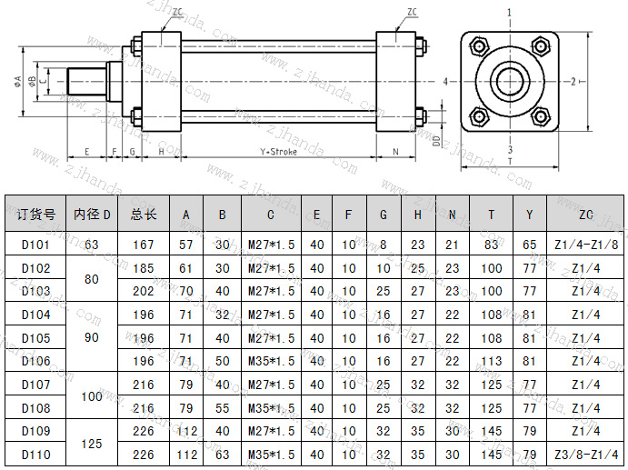 四拉杆安装--低压液压缸尺寸图及具体参数图片