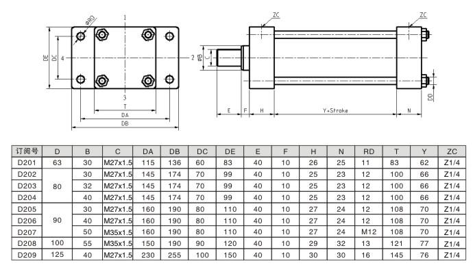 前法兰安装-低压拉杆液压缸尺寸图及参数-达人机床
